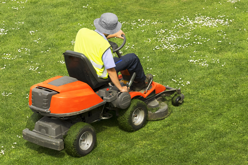 A person on a sit down lawnmower cutting grass